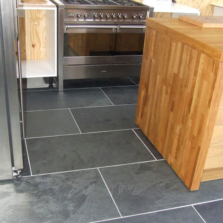 "Black Slate Kitchen Tiles: Brazilian Black ( Montauk Black ) Cleft Slate Tile 12""x24"""