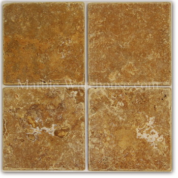 Yellow Tumbled Travertine Tile 6X6