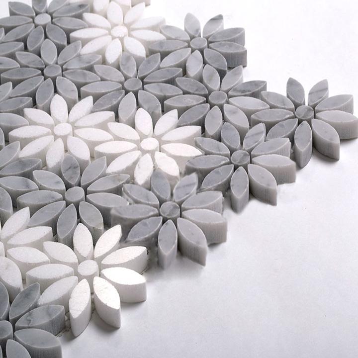 Fleur Water Jet Marble Mosaic Tile 12 X12
