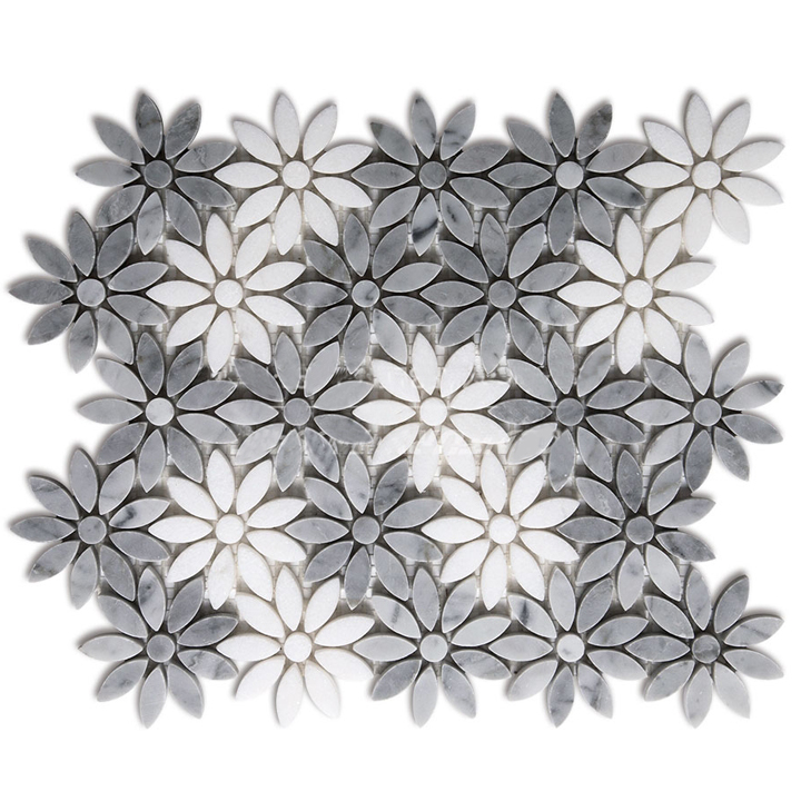 Fleur Water Jet Marble Mosaic Tile 12 Quot X12 Quot
