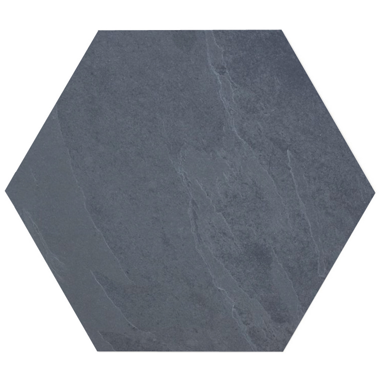 Brazilian Black ( Montauk Black, Hampshire ) Hexagon Cleft Slate Tile 10x10