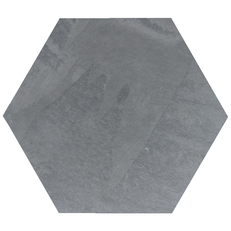 Brazilian Gray ( Montauk Blue ) Hexagon Cleft Slate Tile  10x10
