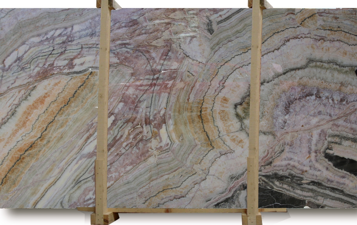 Rainbow Onyx Marble : Rainbow bookmatched onyx slabs