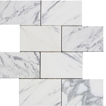 Arabescato Marble mosaic Polished 3x6