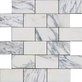 Arabescato Marble Mosaic Polished 2x4 Subway