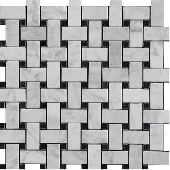 Carrara Basketweave with Black Dot Polished 1x2