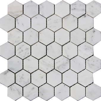 Carrara marble mosaic Polished 2x2 Hexagon