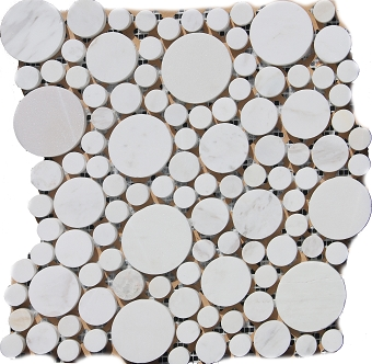 Olympus White Marble Mosaic Polished Circle Random