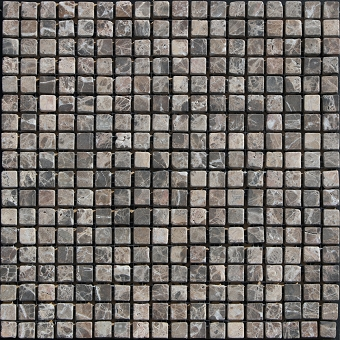 Emperador Dark marble mosaic Honed Tumbled 5/8