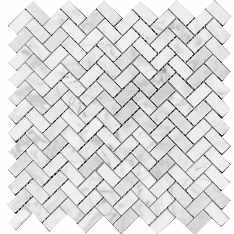 Carrara Marble Mosaic Polished Herringbone 5/8x1 1/4