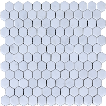Calacatta Chiara Hexagon Marble Mosaic Honed 1x1