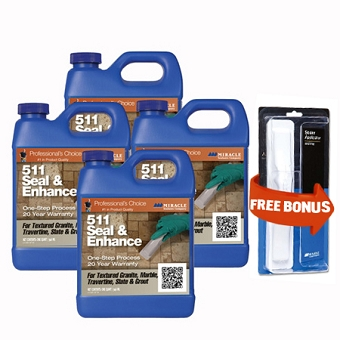 Miracle Sealants 511 Seal & Enhance - 4 Quarts  + Free Mira Brush Applicator and Tray by Miracle Sealants