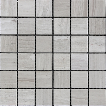 Wooden Grey Marble Tile Mosaic Honed 2x2