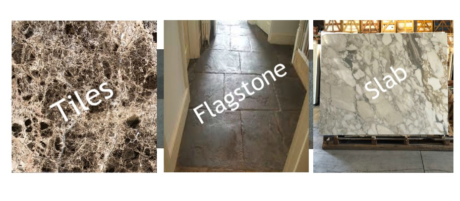 What is difference between Tiles, Flagstone and Slabs