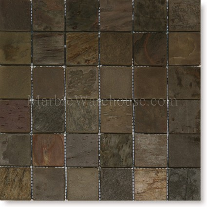 "Indian Multi Color Mosaic Slate 2""x2"""