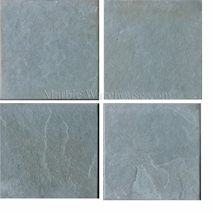 "Brazilian Green Slate Brushed Tile 6""x6"""