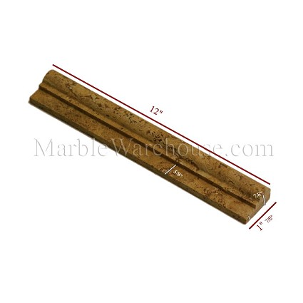"Golden Travertine Chair Rail 1 7/8""x12"""