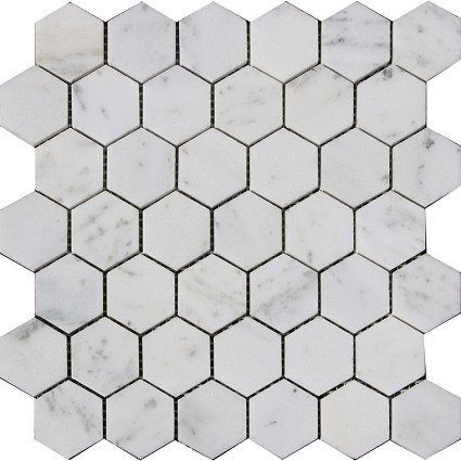 "Carrara marble mosaic Polished 2""x2"" Hexegan"