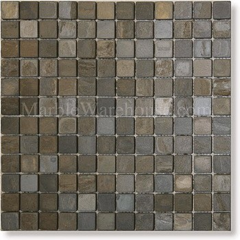 "California Gold Slate Mosaic 1""x1"""