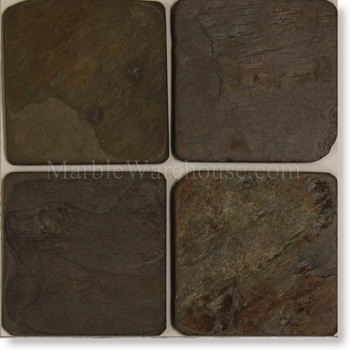 "Indian Multi Color Slate Tile 6""x6"""