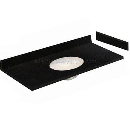 "Black Absolute Granite Vanity Top 61"" x 22"" with Porcelain Bowl"