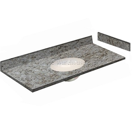 "Giallo Ornamental Granite Vanity Top 49"" x 22"" with Porcelain Bowl"