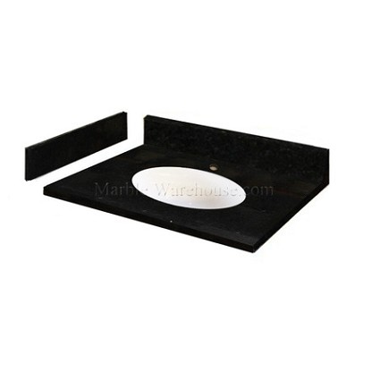 "Absolute Black Granite Vanity Top 31"" x 22"" with Porcelain Bowl"