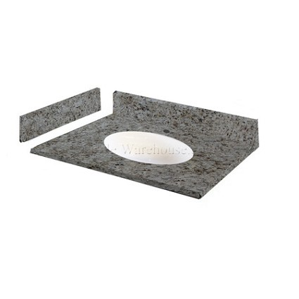 "Giallo Ornamental Granite Vanity Top 37"" x 22"" with Porcelain Bowl"