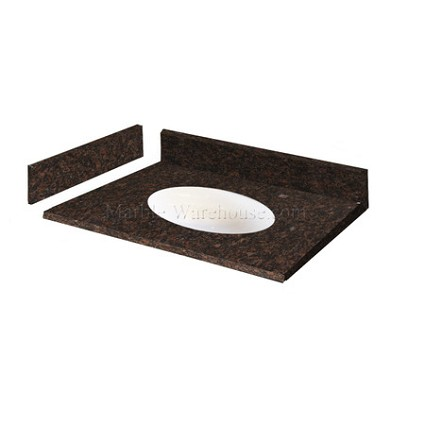 "Tan Brown Granite Vanity Top 31"" x 22"" with Porcelain Bowl"