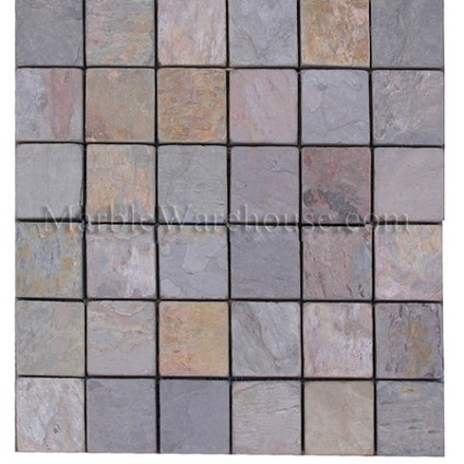 "Indian Multicolor Slate Mosaic 2""x2"""