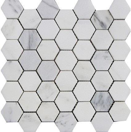 "White jade Marble Mosaic Polished 2""x2"" Hexegan"