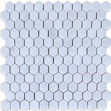 "Calacatta Chiara Hexagon Marble Mosaic Honed 1""x1"""