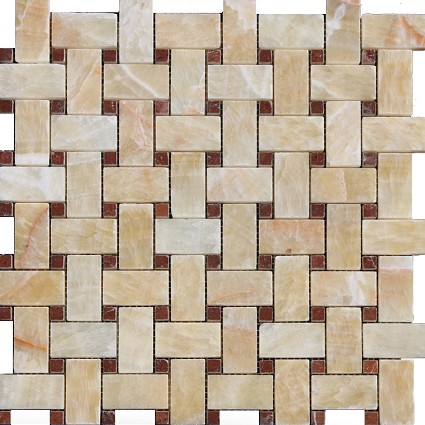 Honey Onyx Basketweave with red Dot mosaic Polished 1x2
