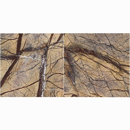 "Rain Forest Brown ( Cafe Forest )  Brushed Marble Tile 12""x12"""